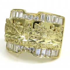 10k Yellow Gold The Last Supper Cz Ring 3.00ct