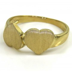 14k Yellow Gold Two Hearts Ring