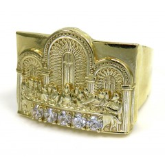 10k Yellow Gold The Last Supper Cz Ring 0.30ct
