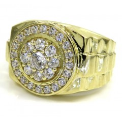 10k Yellow Gold Cz Cluster Presidential Style Double Circle Ring 1.50ct