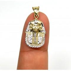 10k Yellow Gold Mini Solid Back King Tut Pharaoh Head Pendant