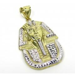 10k Yellow Gold Small Solid Back King Tut Pharaoh Head Pendant