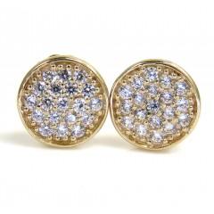 14k Yellow Gold Cz Snow Cap 7mm Earrings 0.50ct