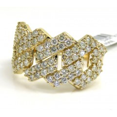 14k Yellow Gold 13mm Diamond Cuban Ring 2.15ct