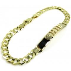 14k Yellow Gold Custom Solid Cuban Id Bracelet 8.25 Inch 5.80mm