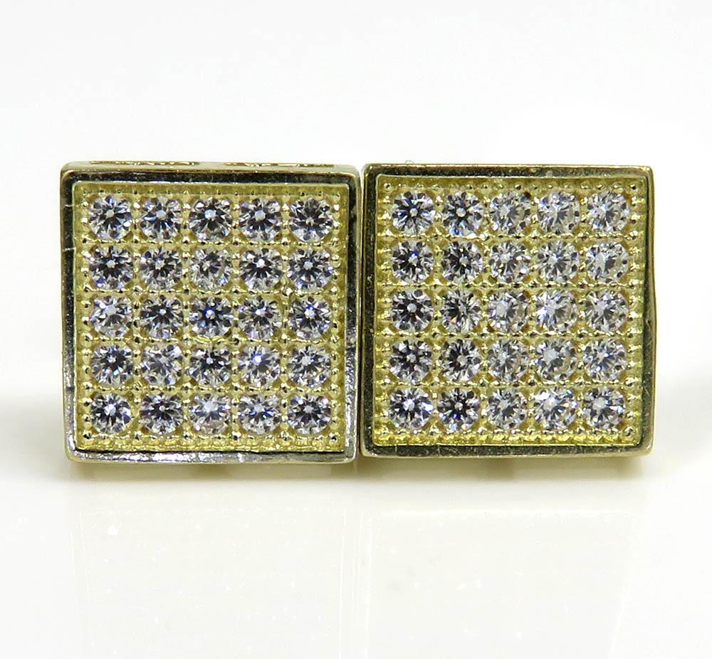 10k yellow gold 5 row cz earrings 0.25ct