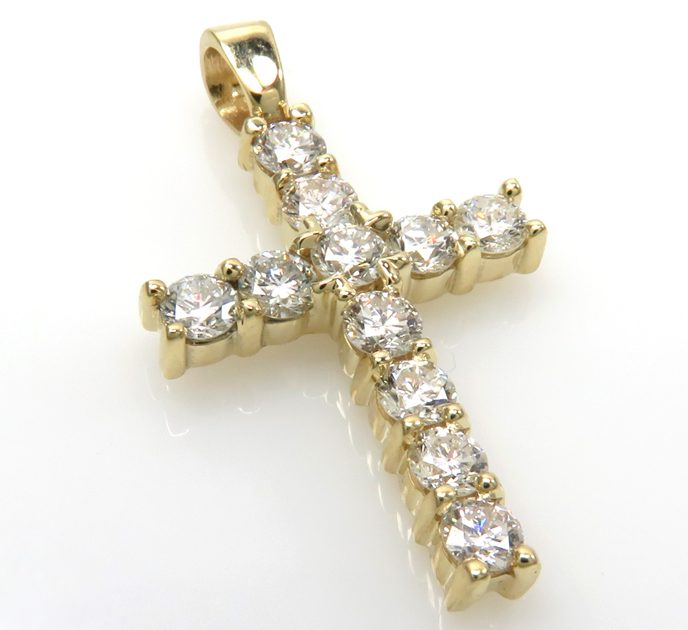 14k yellow white or rose gold 10 pointer diamond mini cross 1.10ct