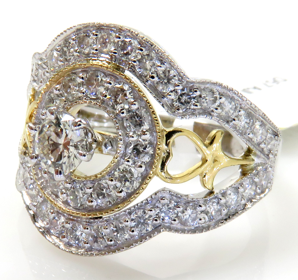 14k solid two tone heart flower diamond ring 1.40ct