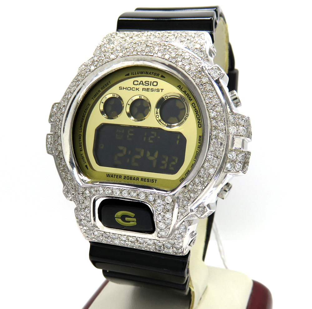Mens diamond g-shock watch 5.00ct
