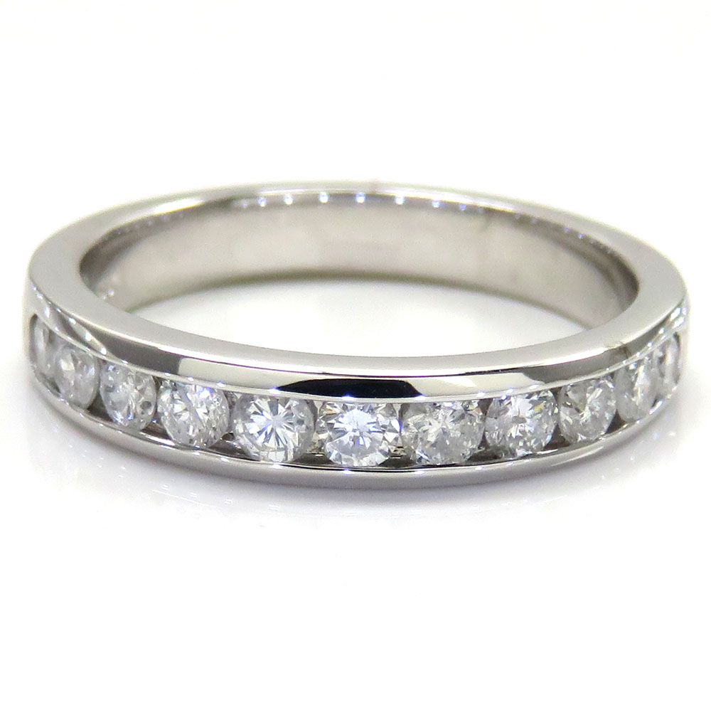 MENS 14K WHITE GOLD ROUND DIAMOND BAND RING 1.00CT