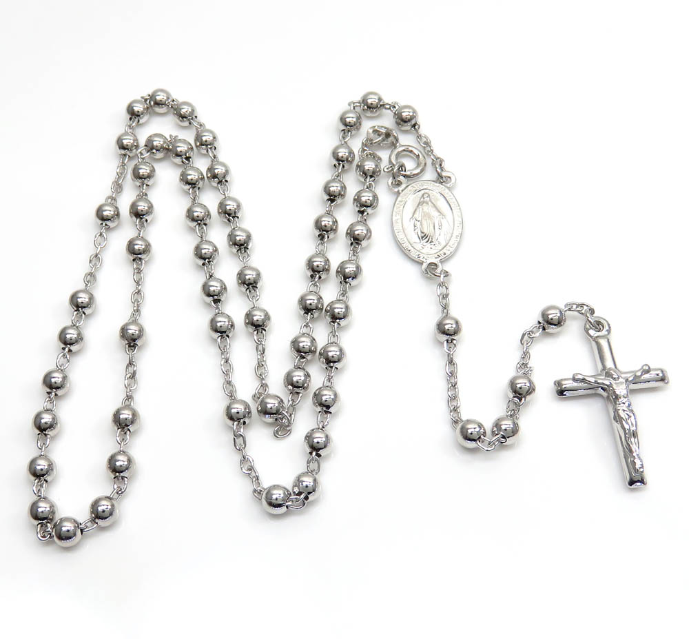925 silver long rosary italy necklace 24 inches 4mm