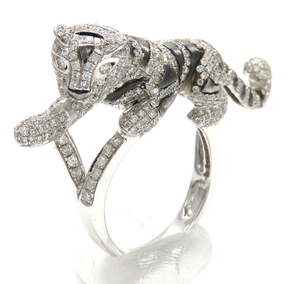 dc2ac143036456 ladies 14k white gold diamond black rhodium tiger ring 2.00ct
