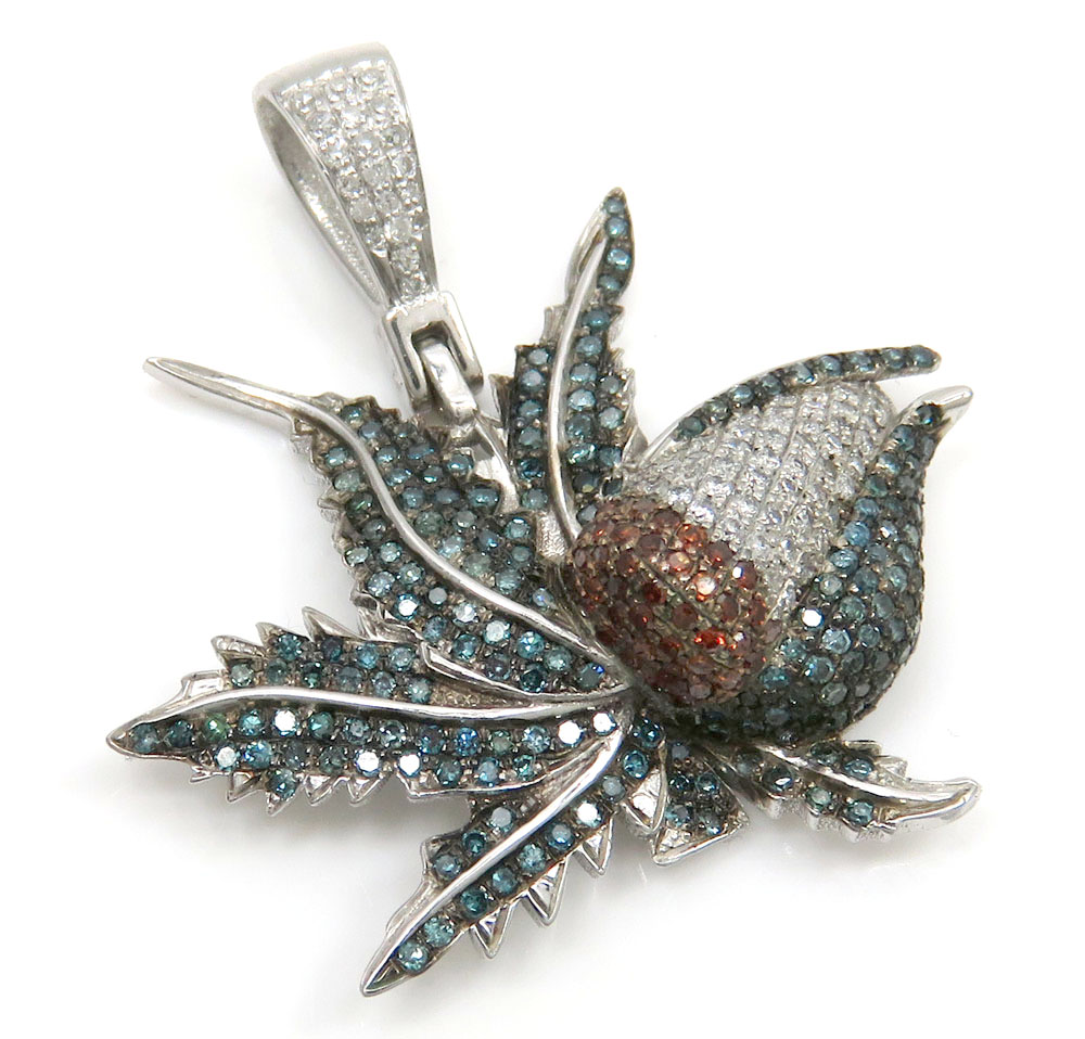 14k white gold blue & red diamond marijuana leaf pendant 1.10ct