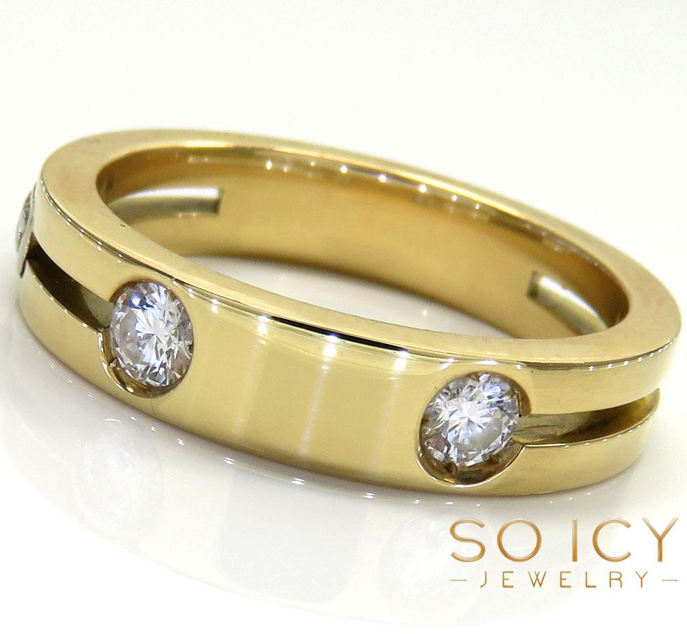 Mens baraka 18k yellow gold diamond wedding band 0.30ct