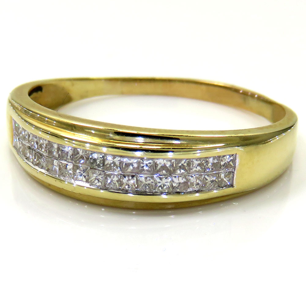 14K Yellow Gold Princess Diamond Wedding Band 0.85CT