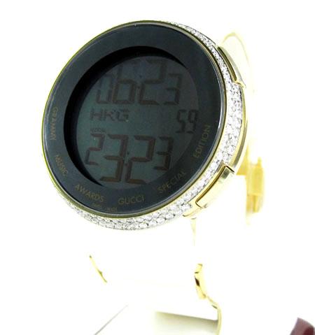 Mens diamond yellow igucci digital watch 2.00ct