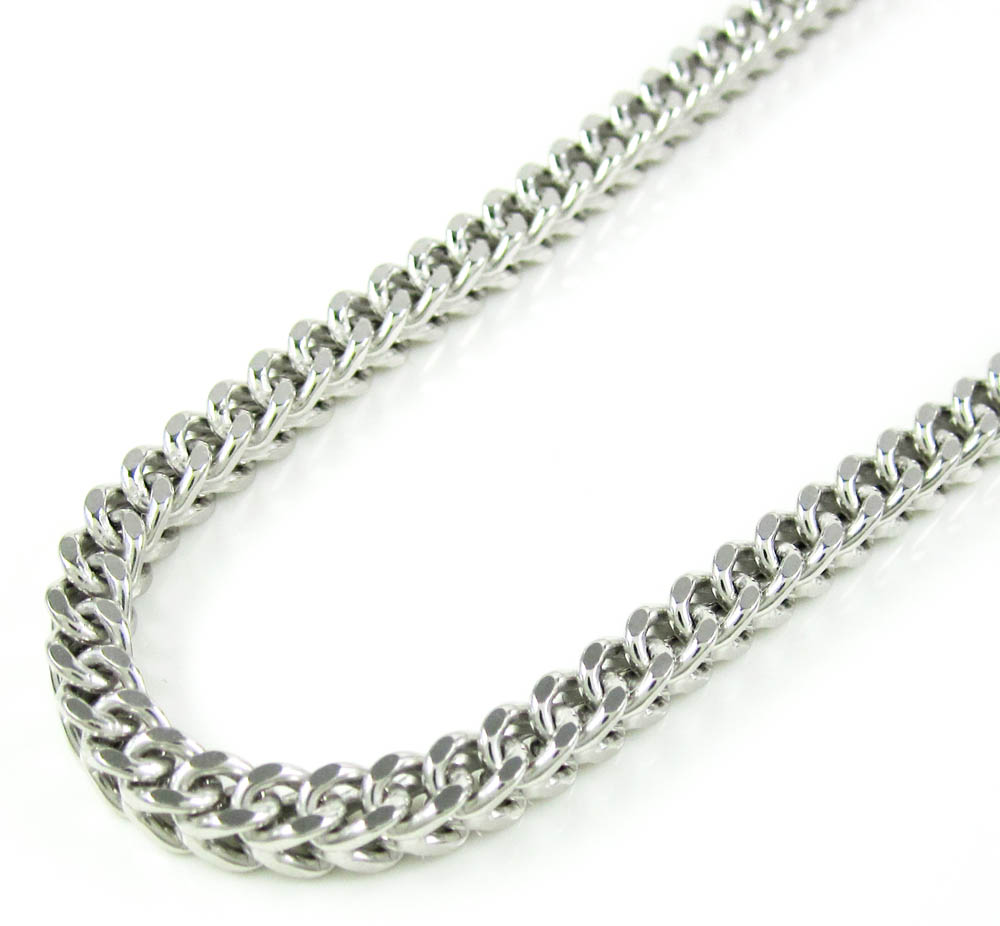 10k white gold franco hollow link chain 26-36 inch 3.75mm