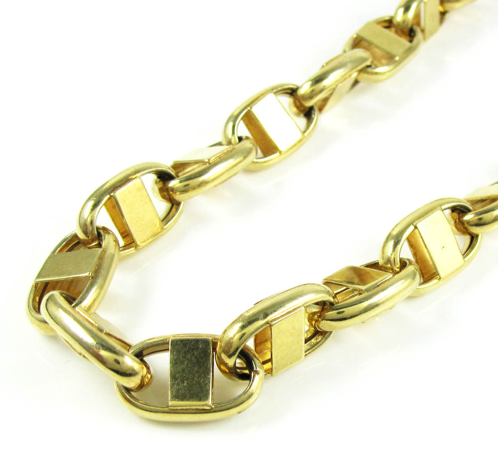 925 yellow sterling silver anchor link chain 24 inch 10.5mm