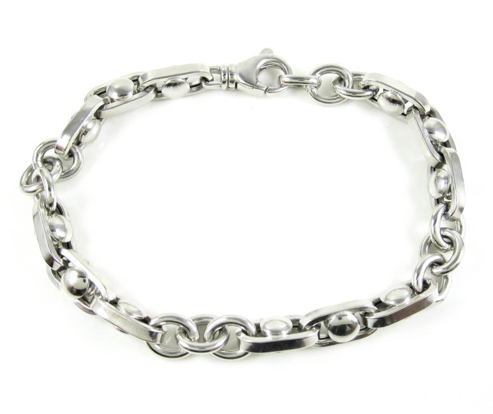 925 white sterling silver anchor link bracelet 9 inch 8.85mm