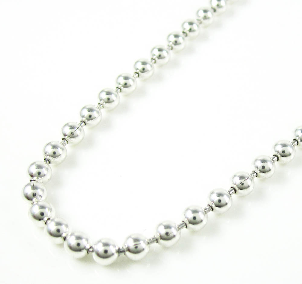 925 white sterling silver ball link chain 24 inch 3mm