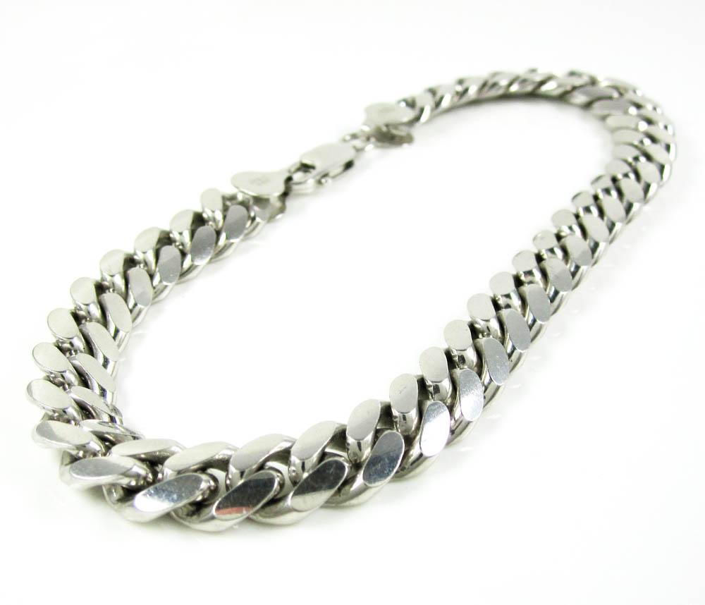 925 white sterling silver miami link bracelet 10 inch 9.20mm
