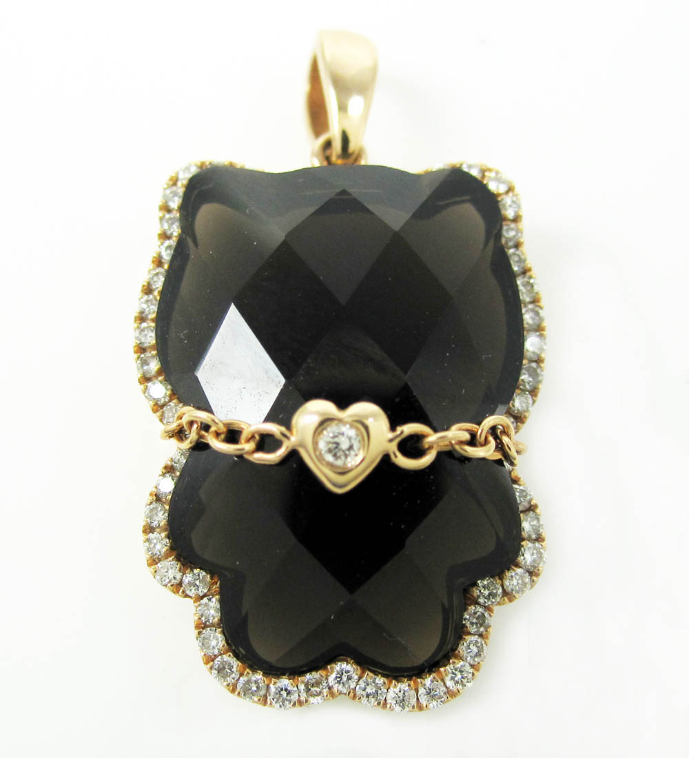 18k rose gold faceted black onyx hello kitty diamond pendant 027ct mozeypictures Gallery