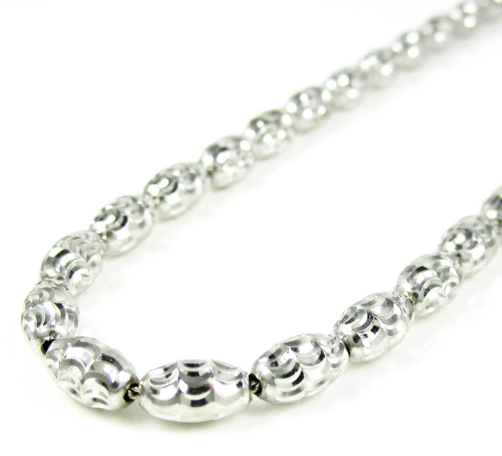 14k white gold diamond cut oval bead chain 24 inch 4mm