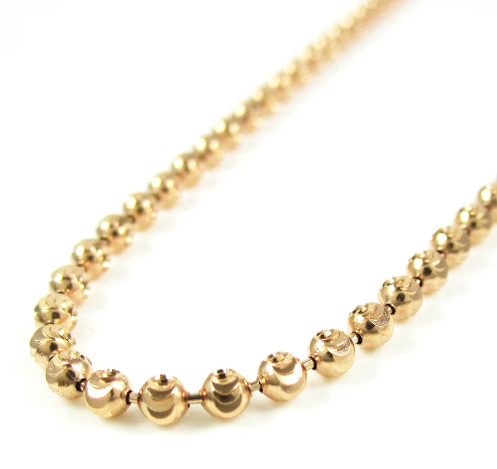 16, 18, 20, 22, 24 Inches 14K Yellow Gold Chain 1.4mm Ball Bead Chain Necklace