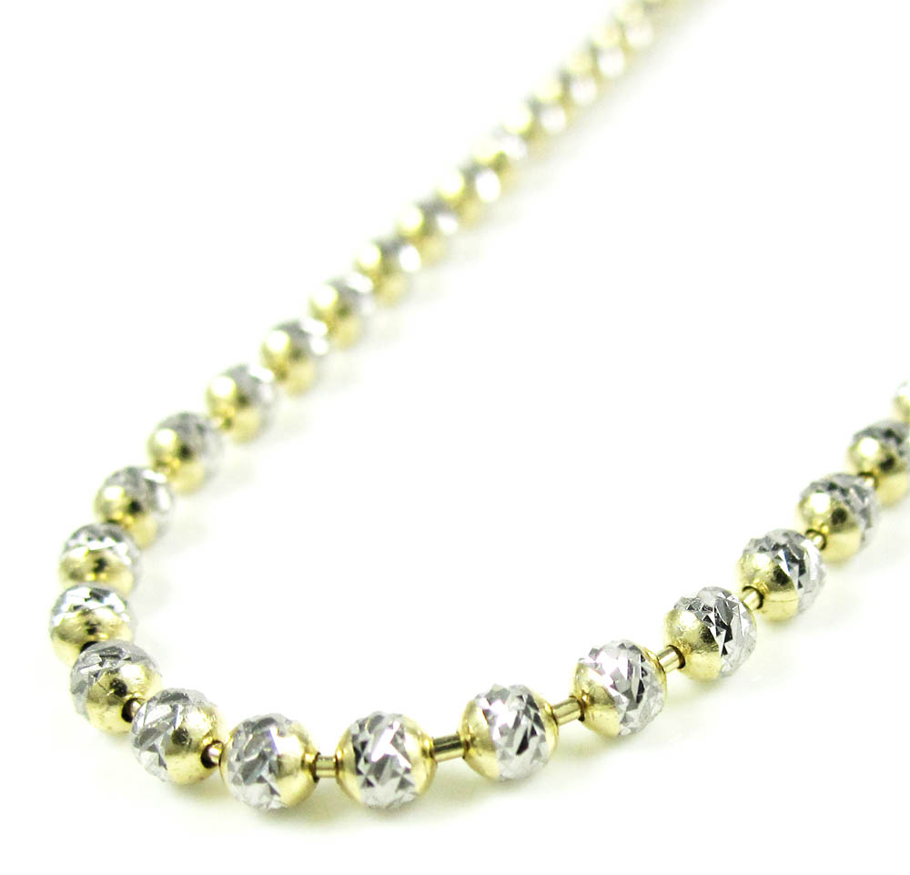 gold inches bead chain necklace tone double diamond cut accent two