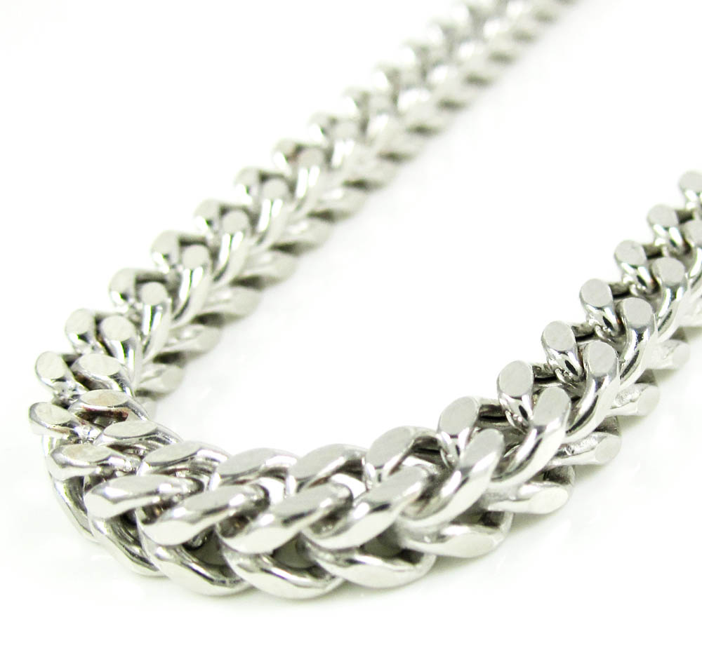 10k white gold smooth cut franco link chain 26-36 inch 4.25mm