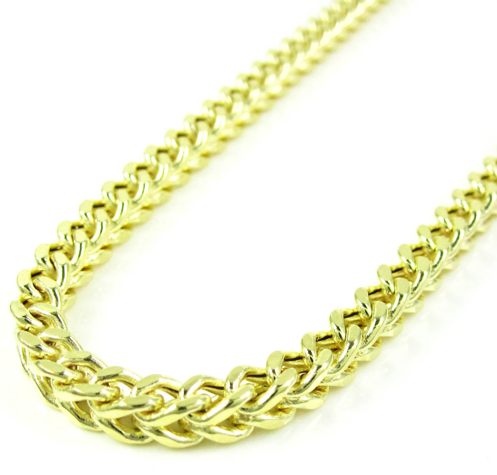 10k yellow gold smooth cut franco link chain 26-40 inch 4.2mm