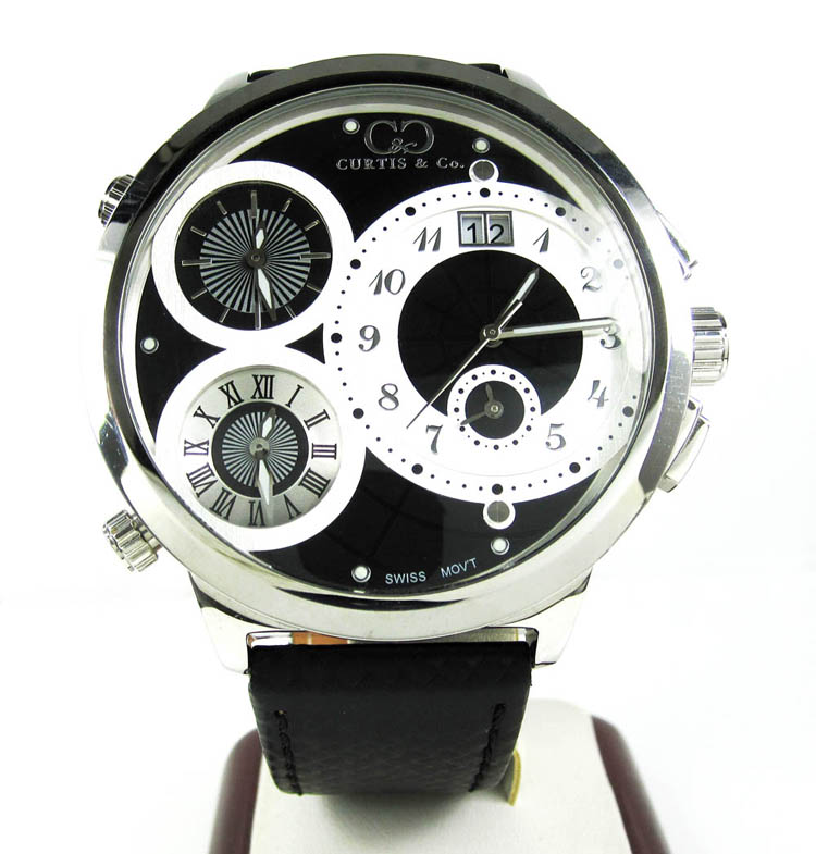 Curtis & Co White Stainless Steel Mens Watch 4 Time Zone