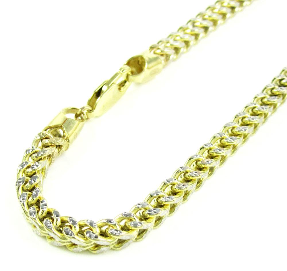 10k yellow gold diamond cut franco bracelet 9 inch 4.1mm