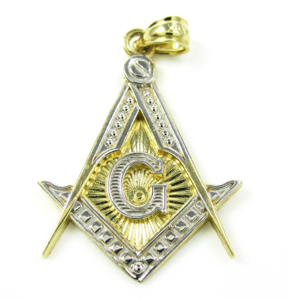10K Solid Two Tone Gold Free Mason G Pendant