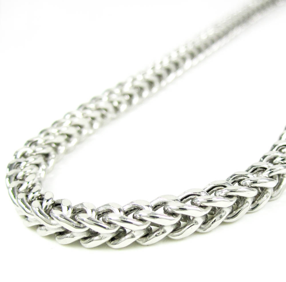 14k white gold smooth cut franco link chain 22-36 inch 4.25mm