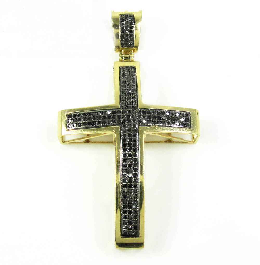 14K Yellow Gold Black Diamond Cross 0.62CT