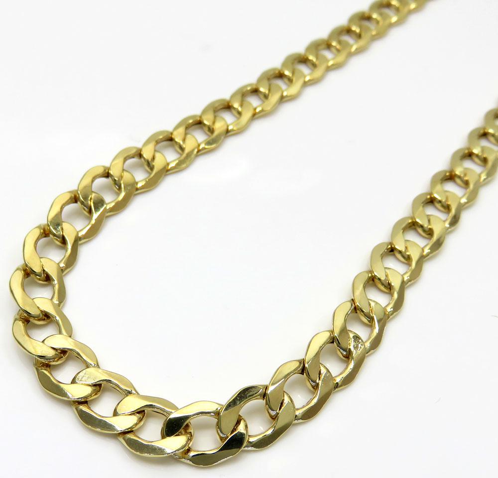 10k yellow gold hollow cuban link chain 20-30 inch 7.5mm