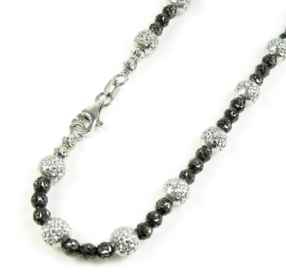 14k black & white gold diamond cut bead link anklet bracelet  11 inch 5mm