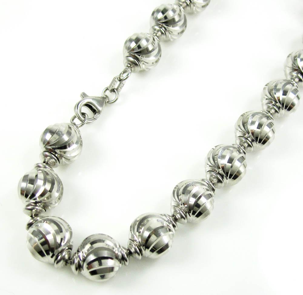 d4b603bc224 14K White Gold Diamond Cut Bead Link Bracelet 8 Inch 8mm