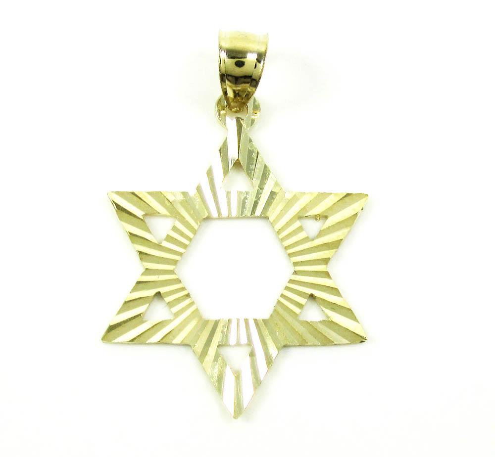 10k yellow gold diamond cut star of david pendant
