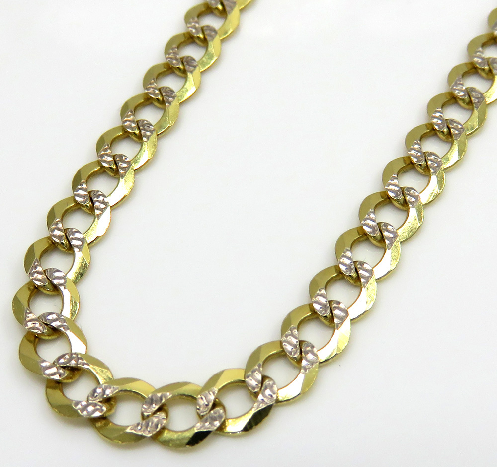 10k yellow gold diamond cut cuban link chain 18-26 inch 3.75mm