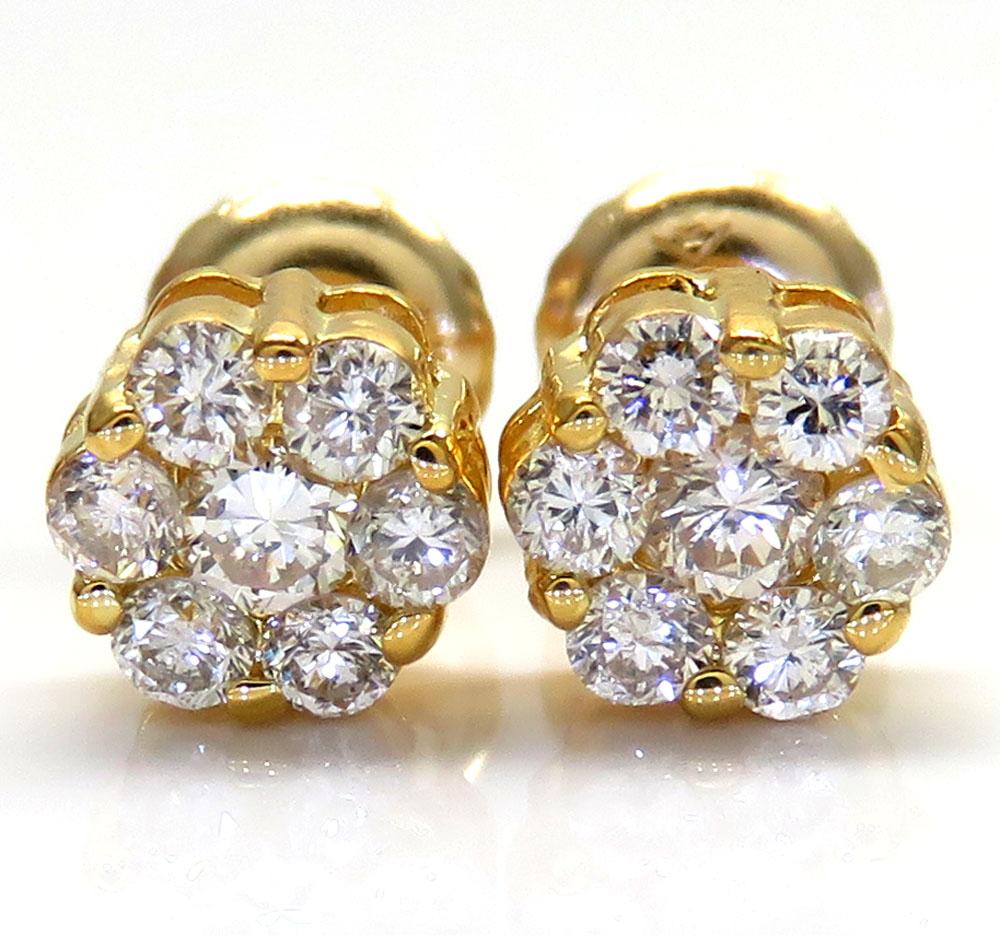 14K Yellow White or Rose Gold Diamond Cluster Earrings 0.50CT