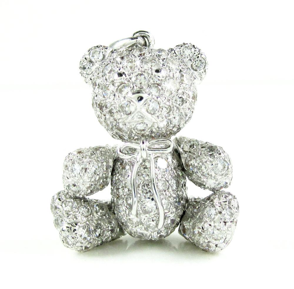 14k white gold teddy bear diamond pendant 5.25ct