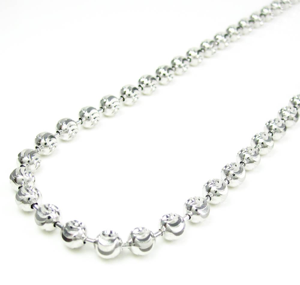 5d40073cc1d75 925 White Sterling Silver Diamond Cut Bead Chain 30 Inch 5mm