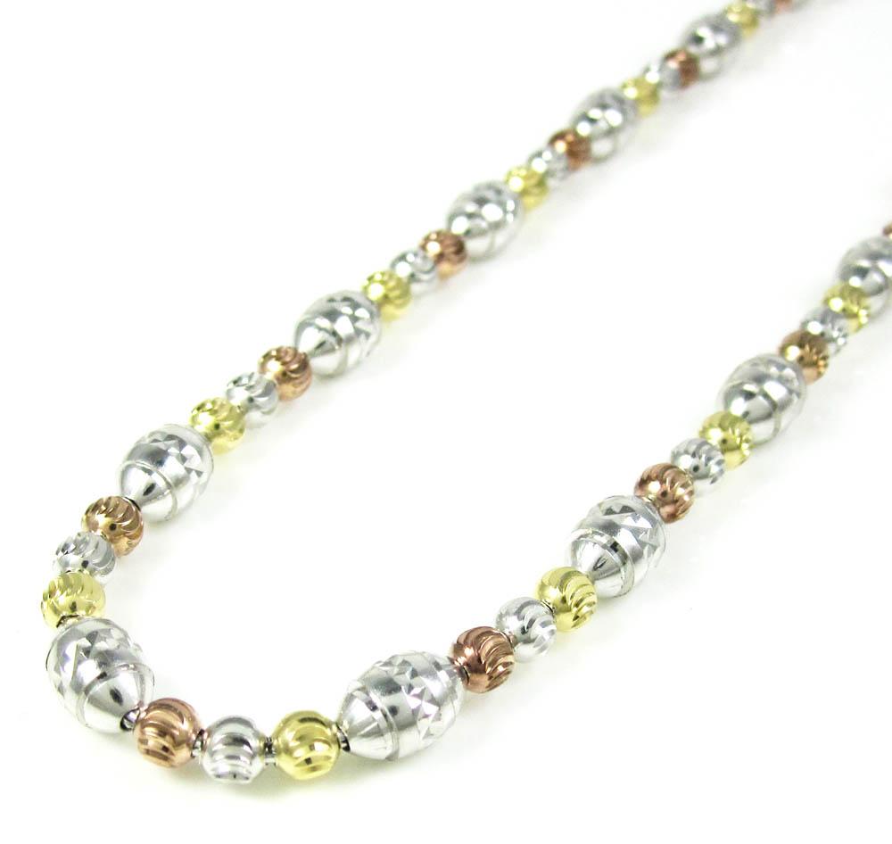 925 tri color silver diamond cut bead chain 30 inch 5mm