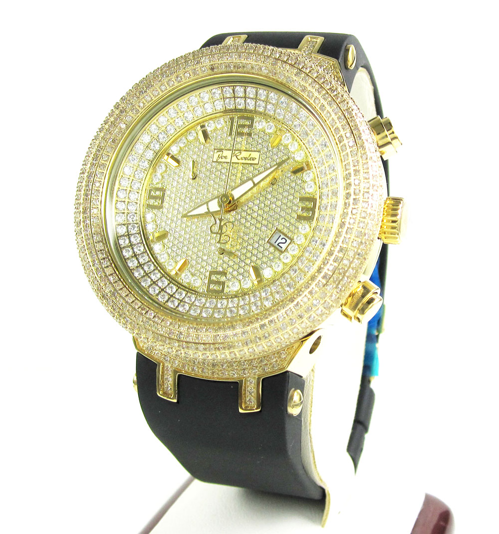 Joe rodeo master yellow iced out diamond watch jjm68 6.50ct