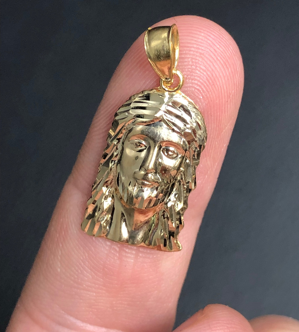 10k yellow or two tone gold diamond cut small jesus face pendant