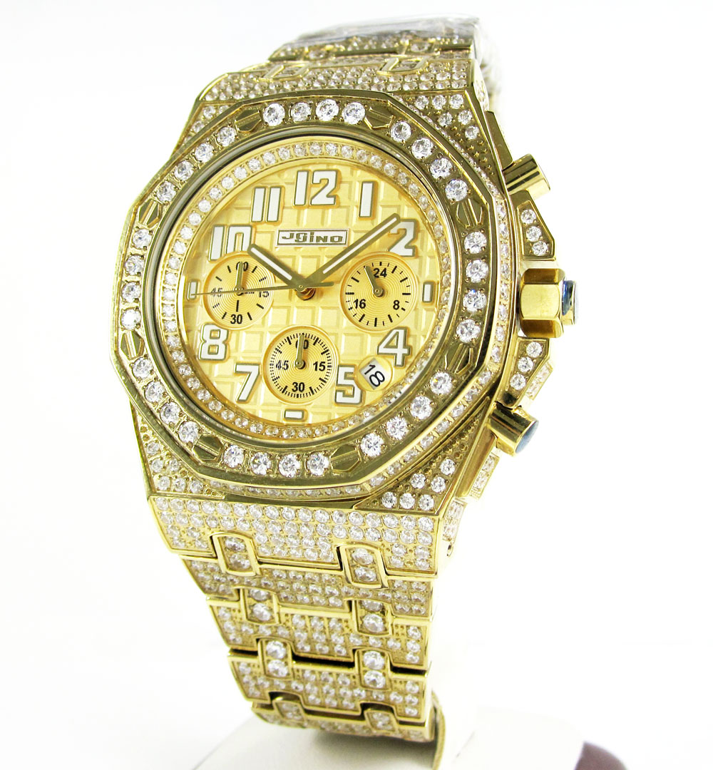 Jojino yellow steel iced out cz watch 20.00ct