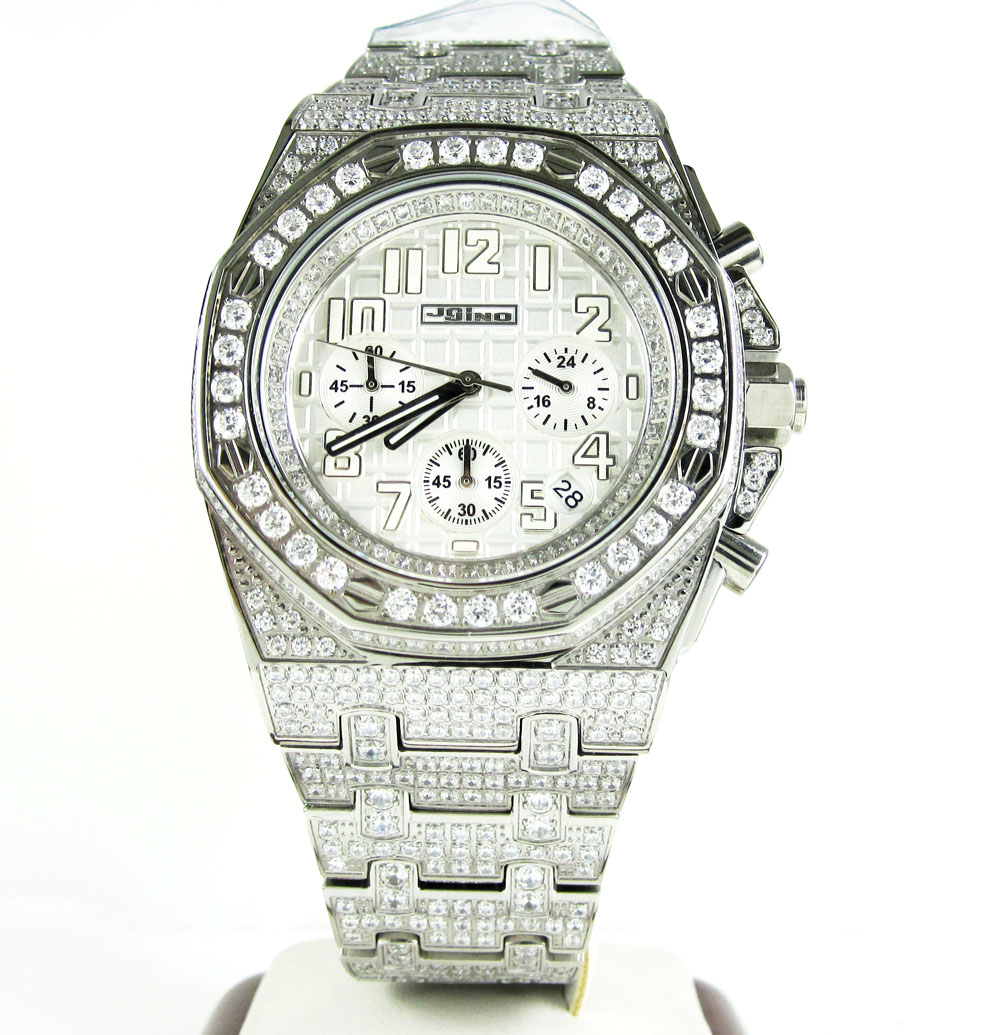 Jojino white steel iced out cz watch 20.00ct