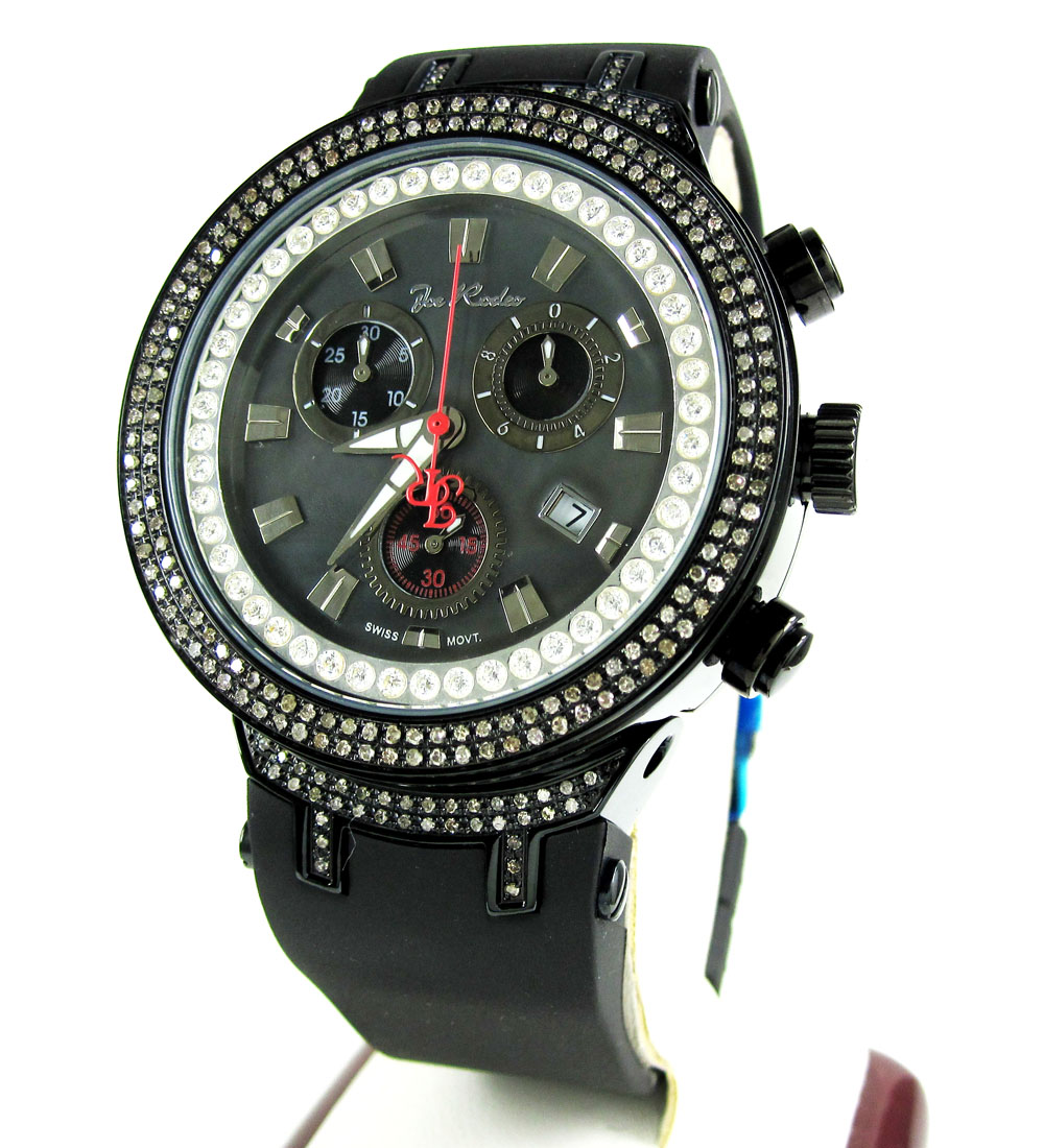 Mens Joe Rodeo Black Stainless Steel Diamond Master Watch 2.20CT JJM85